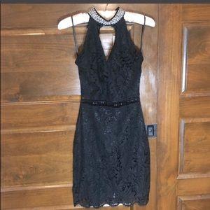 Francesca Collection Black Faux Pearl Accent Dress